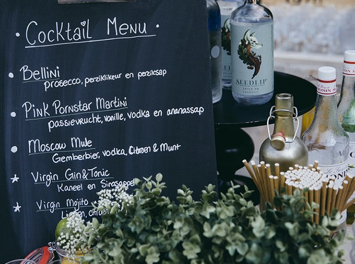 Tuinfeest - Cocktail Menu Mocktail Gin Tonic Bacardi Martini Thuis Bar   - Homemade Catering Lisse
