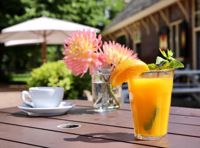 Heerlijke verse jus d'oranje na een wandeling door het bos van landgoed Keukenhof.